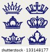 Crown collection. Doodle style. Raster version - stock vector