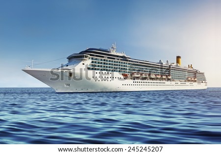 Cruise ship on the water and blue sky