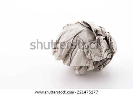 Crumble paper isolated on white background