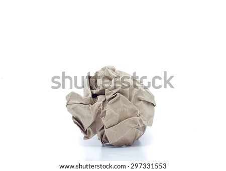 Crumpled brown  paper  on white background