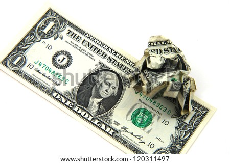 Crumpled One Dollar Bill