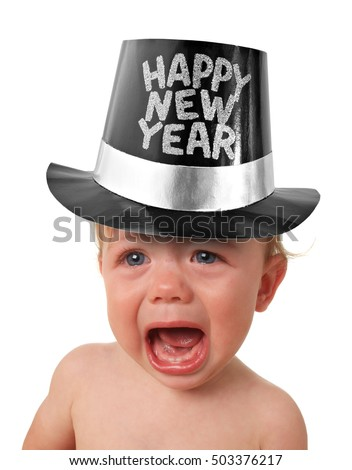 Crying baby boy wearing a Happy New Years hat, studio isolated on white.