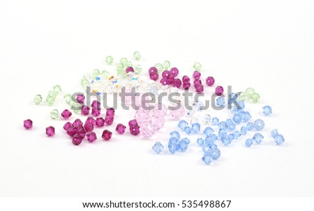 Crystal beads on white background.