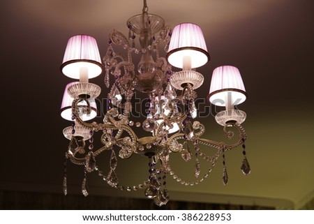 Crystal chandelier with shades and crystal pendants