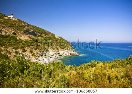 Crystal clean sea along beuty green coastline in amazing island Corsica