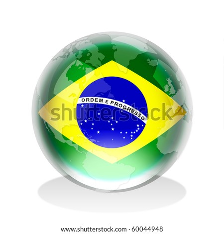 Crystal sphere of Brazilian flag with world map