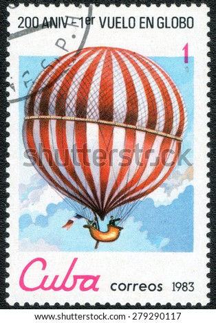 "CUBA - CIRCA 1983: a postage stamp printed in Cuba shows a series of images of ""200 years of flight in a balloon"", circa 1983"