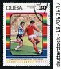 CUBA - CIRCA 1986: A stamp printed by CUBA shows football players. World football cup in Mexico, series, circa 1986 - stock photo