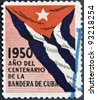 CUBA - CIRCA 1950: A stamp printed in Cuba dedicated to the centenary of the flag of Cuba, circa 1950 - stock photo