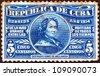 CUBA - CIRCA 1914: A stamp printed in Cuba issued for her birth centenary shows poetess Gertrudis Gomez de Avellaneda (1814-1873), circa 1914. - stock photo