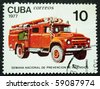 CUBA - CIRCA 1977: A stamp printed in Cuba show the fire-engine, circa 1977 - stock photo