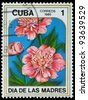 "CUBA - CIRCA 1985: A Stamp printed in CUBA shows image of a Peonies, from the series ""Mother's Day"", circa 1985 - stock photo"