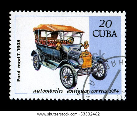 CUBA - CIRCA 1984: Canceled postage stamp depicting antique auto Ford Model T obsolete postage stamp. Circa 1984