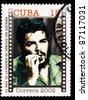 CUBA - CIRCA 2002 : Stamp printed in Cuba, anniversary of the death of Che Guevara in Bolivia, Circa 2002 - stock photo