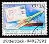 CUBA - CIRCA 1989: stamp printed in Cuba shows spaceships, circa 1989 - stock photo