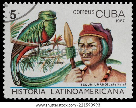 CUBA - CIRCA 1987: The postal stamp printed in CUBA shows tecum uman, (Guatemala) and pharomachrus mocinno, circa 1987