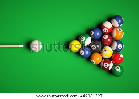 Cue aim billiard snooker pyramid on green table. 3d illustration