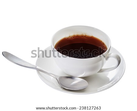 Cup filled with coffee on white, isolated