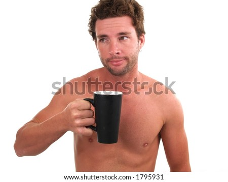 Cup of coffe with messy , super bed head (slight soft focus)
