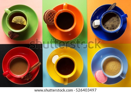 cup of coffee, tea and cacao at colorful background