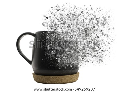 Cup of coffee with pixel explosion effect.