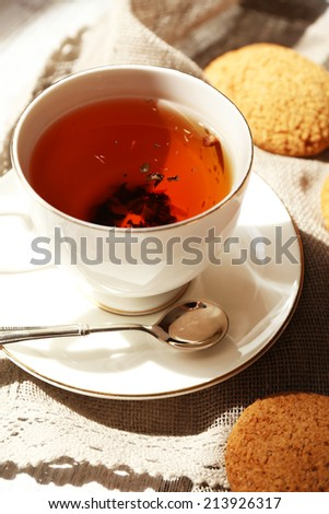 Cup of tea on table, close up