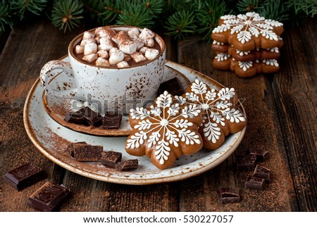 Cup with coffee and gingerbread cookies  for christmas holiday. Holiday concept