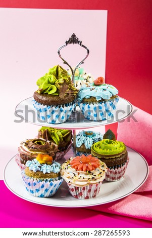 Cupcakes on a serving plate