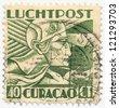 CURACAO- CIRCA 1934: A stamp printed in Netherlands Antilles (Curacao), shows a  Art Deco stamps, circa 1934 - stock photo