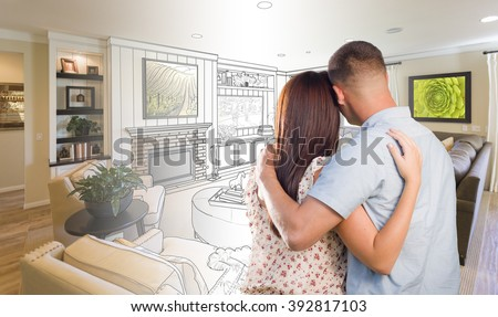 Daydreaming young military couple over custom stock photo for Living room ideas young couples