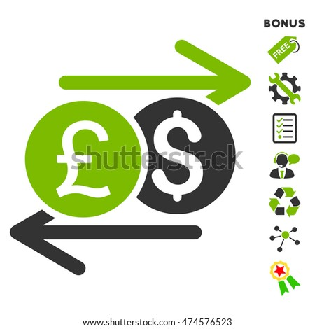 Currency Exchange icon with bonus pictograms. Glyph illustration style is flat iconic bicolor symbols, eco green and gray colors, white background, rounded angles.