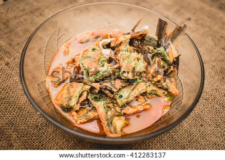 curry Cha-om Omelet and dried Fish ; Thai traditional food