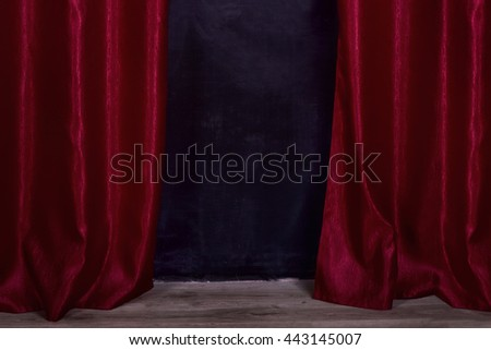 curtain open red dark black dirty floor board parquet