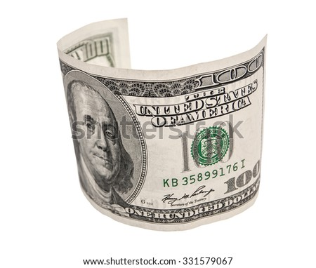 curved dollars on a white background