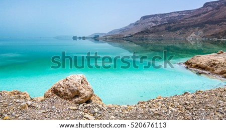 Curved shore of the Dead sea - Israel