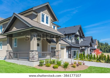 Beautiful Luxury Mansion Manicured Front Lawn Stock Photo