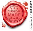 custom made customized handcraft hand crafted authentic original red stamp label or icon - stock photo