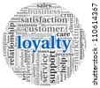 Customer loyalty concept in word tag cloud on white background - stock photo