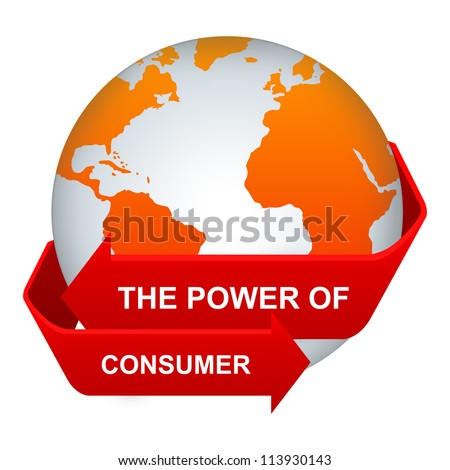 Customer Relationship Management Or CRM Concept Present By The Red Power of Consumer Arrow Around The Orange Globe Isolate on White Background