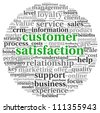 Customer satisfaction concept in word tag cloud on white - stock photo