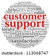 Customer support concept in word tag cloud on white - stock photo