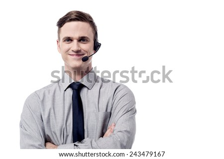 Customer support executive welcoming his clients