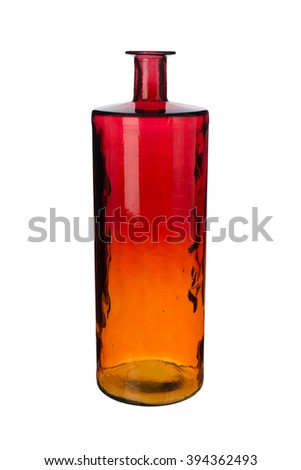 Cut-out of an empty red and amber gradient cylindrical narrow-necked crystal vase.