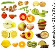 Cut vegetables and fruits collection isolated on white background - stock photo
