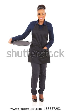 cute african waitress with empty tray isolated on white