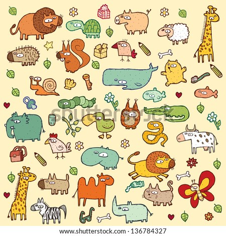 Cute and funny animals and everyday objects collection.  (for vector see image 111515783)