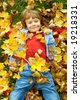 cute boy in autumn - stock photo