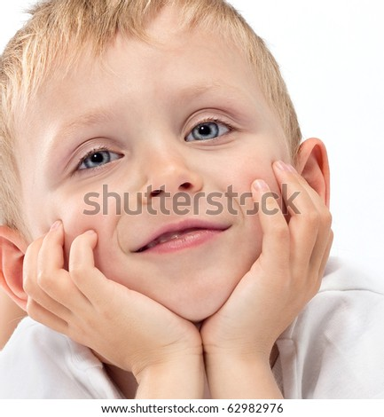 cute boy on white background