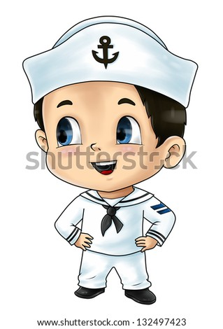 Cute cartoon illustration of a sailor - stock photo