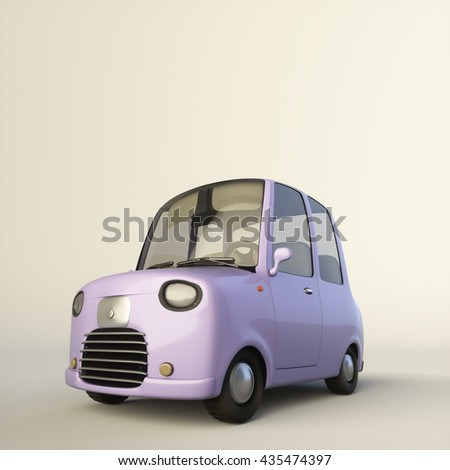 Cute cartoon stylized car in a lilac color isolated on a white background. 3d rendering illustration. Low view